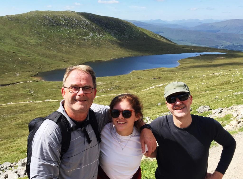 Sean Moloney, Gemma Mills and Phil Page  climbing Ben Nevis