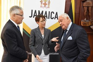 Left to right: Rear Admiral Peter Brady, Director General Maritime Authority of Jamaica; Senator, the Hon. Kamina Johnson Smith, Minister of Foreign Affairs and Foreign Trade; the Hon L. Michael Henry, Minister of Transport and Mining.